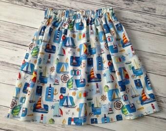 Girls Skirts, Girls' 5/6 Skirt, Sailboat Skirt, Girls Sailboat Skirt, Girls Skirts, Cotton Skirts, Nautical Clothes