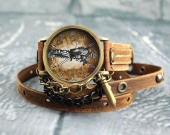 Army Watch, Brown Leather Watch, Military Gift, Leather Wrap Watch, Army Bracelet Watch with Bullet Charm,