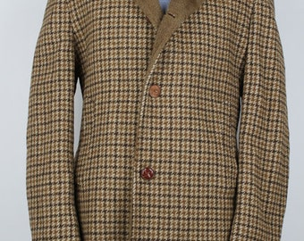 Vintage TWEED H.I.S. Brown Hounds Tooth Leather Buttons 40 R Mens Coat Jacket 3/4 Car Coat