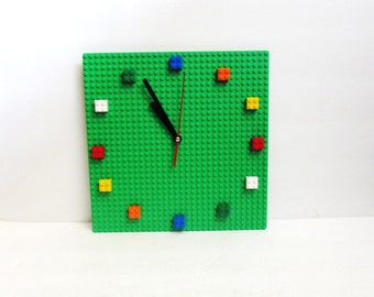 Green LEGO® Plate Bricks Wall Clock, office, bedroom, playroom, room decor, Christmas Gift, teacher