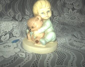Twinton Boy with Teddy Figurine
