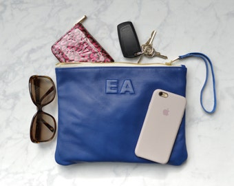 Leather Monogram, Large Bright Navy Leather Clutch, Leather Pouch, iPad pouch, custom handmade to order with Initials
