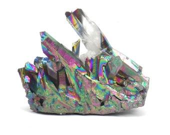 Titanium Rainbow Flame Aura Quartz Cluster, Metallic Quartz Cabochon For Jewelry Making, Wire Wrapping Q403W