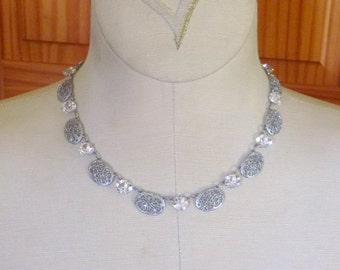 Art Deco filgree and open back crystal rhodium plate choker necklace Czech