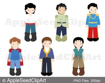 Princes Digital Clip Art, Instant Download, Scrabooking, Cute boys ClipArt, Fairytale Princes
