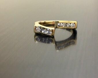 14K Yellow Gold Diamond Engagement Band - 14K Gold Diamond Wedding Band - 14K Diamond Band - 14K Yellow Gold Band - Diamond Art Deco Band