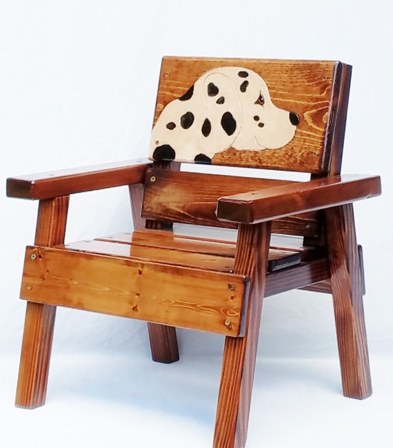 Childrens wood dalmatian rustic feel dog chair kids outdoor for Childrens outdoor furniture