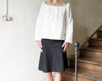 Pure linen blouse 'Paysanne', Loose Summer top, Different colors, Eco friendly linen