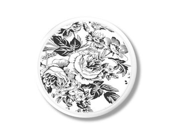 Black and White Rose Toile Dresser Drawer Knob - Goth, Shabby Cottage, Floral, Chic Country, Victorian, Bath - Pull, Cabinet Door - 315D24