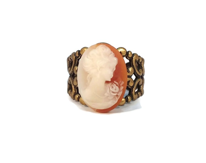 Adjustable Brass Cigar Band Filigree Cameo Ring OOAK, One of a Kind Orange, Cream, Brown, White