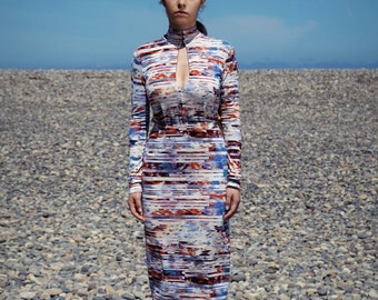 Abstract print midi dress in jersey