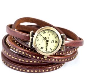 Studded Dark Brown Leather Wrap Watch