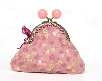 Kisslock with little Cotton Rabbit in Coral Pink ,Kimono Bag,Kimono Coin Purse,Japanese Bag,Jewelry Case,Birthday gift  No.Clutch 5