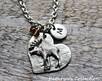Moose Necklace, Moose Jewelry, Moose Gift, Moose Lover