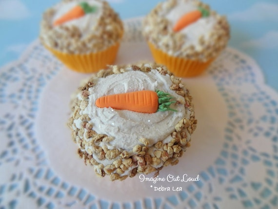 Fake Cupcake Handmade Easter Spring Carrot Cake Cupcake with Nuts and Carrot