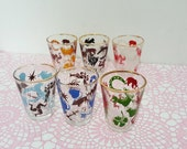 Set of 6 vintage lucky charm shot glasses - 1950's, bar cart, tiki, irish, clover, casino, mid century, vintage glass.