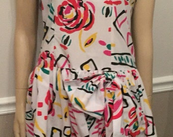 Totally Awesome 80's Color Block sleeveless white dress / size 7/8