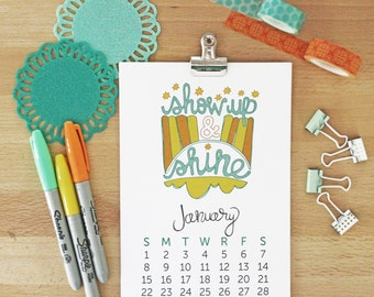 SALE! 2017 Wall Calendar Handlettering Quotes Inspirational Quotes Encouragement