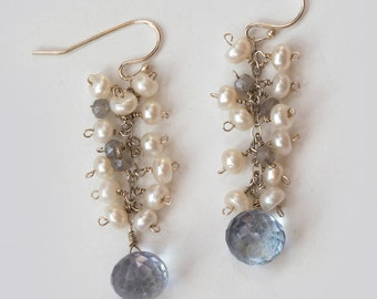 Freshwater Pearl, Dangle Earrings, Blue Mystic Quartz, Sterling Earwires