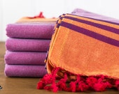 S A L E, Smyrna Turkish Towel, Peshtemal, Beach Towel, Hammam Towel, Red, Orange, Purple