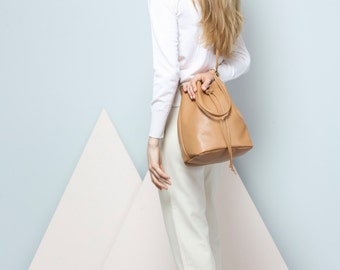 Leather bucket bag, Camel bucket bag, Shoulder bag, Cross body bag, Leather Bag, Handmade bag