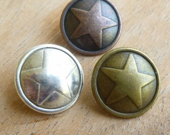 Metal Star Buttons - Silver Star Button - Bronze Star Button - Copper Buttons - Metal Shank Buttons - Wrap Bracelet Buttons - Star Buttons