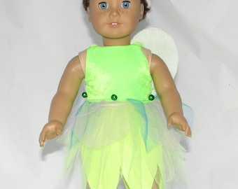 Lime Green Fairy Costume for 18 inch Dolls such as American Girl  and Our Generation
