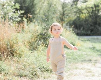 Boys Linen Overalls, Toddler Overalls, Linen Jumpsuit, Linen Romper, Made of 100% Natural Linen, 1st Birthday outfit