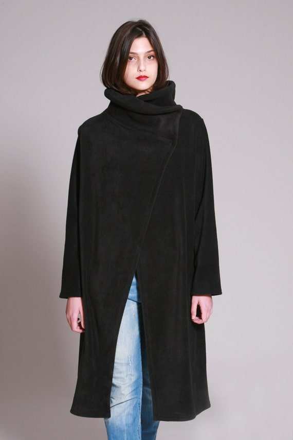Black Coat Fleece Jacket High collar Loose Fit Long Coat