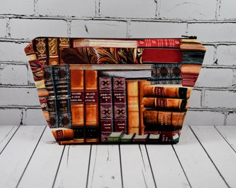 Books Cosmetics Bag, Reading Makeup Bag, Librarian Gift