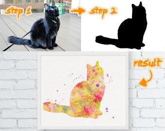 Custom Cat Silhouette Art Print, Custom Cat Watercolor, Custom Cat Print, Cat Lover Gift, Pet Lover Gifts, Custom Pet Art, Cat Poster