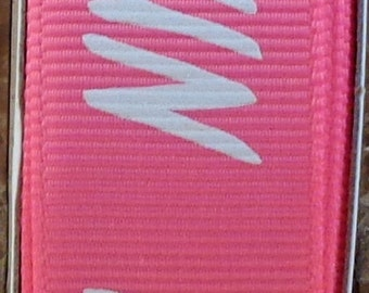 "2 Yards 7/8"" Hot Pink with White ""RUN"" Print Grosgrain Ribbon - Marathon - Track - School - US Designer"