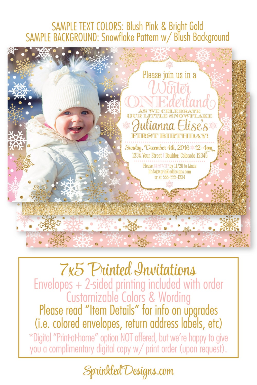 Winter ONEderland Invitation Girl Photo Card Blush Pink Gold