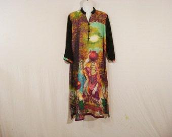 Ethnic Boho Tunic Dress Batik Wearable Art Gypsy Chic Mid Calf Avant Garde XL XXL