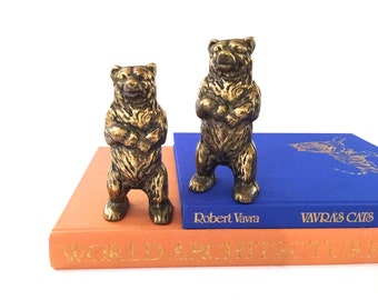 Vintage Brass Grizzly Bear Coin Bank - Made In Canada - Grizzly Bear Piggy Bank - Mid Century Brass Bank - Mid Century Nursery Decor - Baby