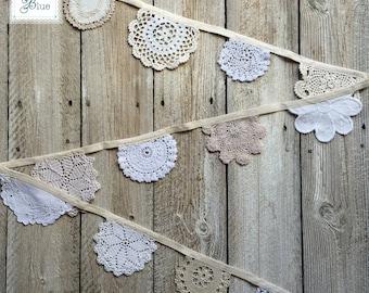 Delicate Cream Vintage Bunting - Afternoon Tea Decoration- Neutral Wedding Decor - Beige White Ivory Cream (Magnolia & Snowdrop) - 2 metres