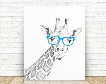 Giraffe Art, Giraffe Nursery Art Print, Giraffe Portrait Art Print, Giraffe with Glasses Print, 5x7, 8x10, 11x14 or 16x20 WALL ART PRINT