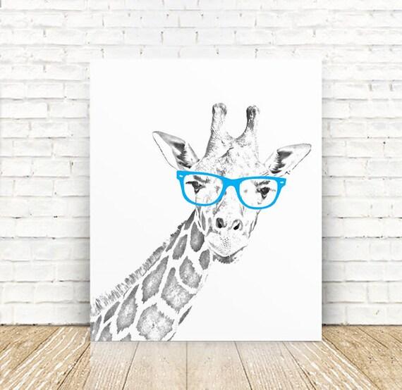 Giraffe Art Giraffe Nursery Art Print Giraffe Portrait Art