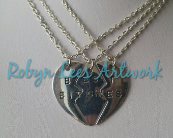 Silver Best Bitches 3 Part Heart Necklace Set of 3 Necklaces on Silver Crossed Chain. Best Friends