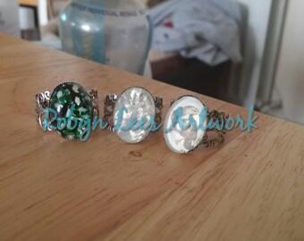 SALE Raven Bird, German Harlequin and Czech Glass Silver Filigree Rings