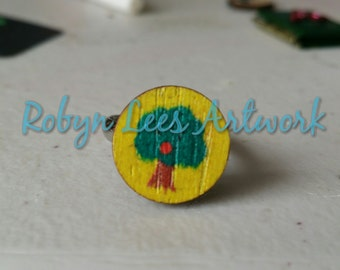 Yellow Wooden Fruit Tree Painted Adjustable Silver Ring, Apple, Orange, Nature, Bright