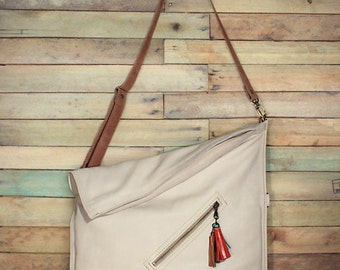 Cross body bag, Cream Leather Bag, Fold over purse, leather crossbody purse, Messenger Bag, Leather messenger bag, Soft leather bag,