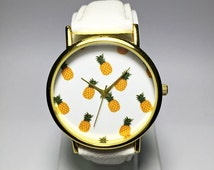 Tropical Fruit Pineapple Watch, Vintage Style Leather Watch, Women Watches, Boyfriend Watch, Ladies Watch, Personalized  Gift Spring Summer