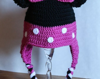 MADE TO ORDER Crochet Minnie Mouse Hat Pink Minnie Mouse Bow Hat