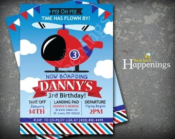 Helicopter Birthday Invitation Flyinh Birthday Invitation Airplane Invitation Plane Invite Digital File by Busy bee's Happenings