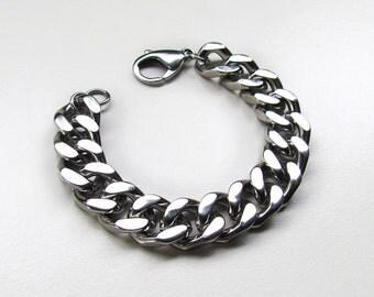 Colossal Stacker / Stainless Steel / Curb Chain Bracelet / Chain Links / Silver Chain Bracelet / Tarnish Resistant / Hypoallergenic Bracelet
