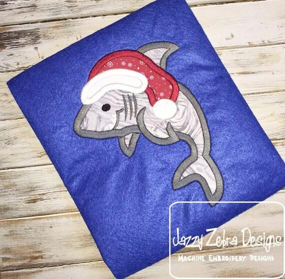 Shark wearing Santa Hat Appliqué embroidery Design - shark Appliqué Design - beach Appliqué Design - Christmas Appliqué Design - Santa