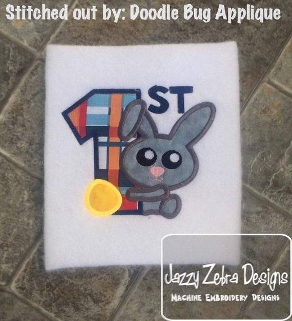 1st Easter Bunny Boy Appliqué Design - Easter appliqué design - 1st easter appliqué design - bunny appliqué design - rabbit applique design