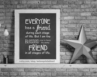 Gifts for Best Friends, Christmas Gift Ideas, Birthday Gift Ideas for Best Friend, Digital Art Print, Friendship Quote Poster for Her
