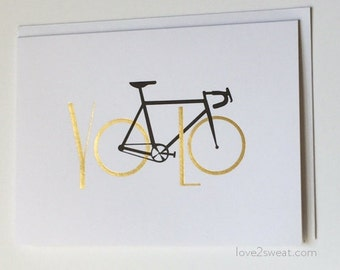 Bicycle greeting card - You Only Live Once, Cycling, Road bike, YOLO